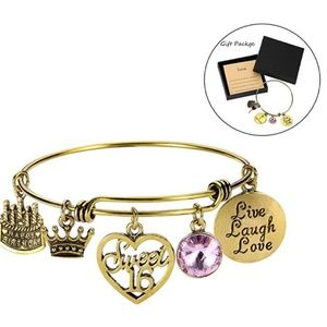 Jewelry - June Birthday Bangles Live Laugh Love Charms